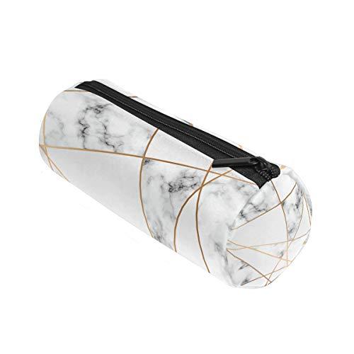 Alaza - Astuccio cilindrico in marmo, con cerniera, grande capacit, per studenti, cancelleria,...