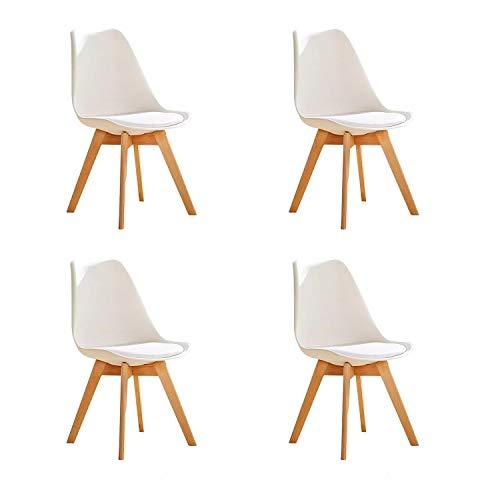 GroBKau Set di 4 Sedie da Pranzo Tulip, Sedie Imbottite da Pranzo, Sedile Imbottito Morbido, Schienale Ergonomico, Bianca