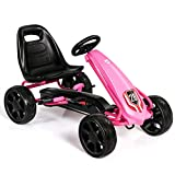 HONEY JOY Pedal Go Kart, 4 Wheel Ride On Toy with Ergonomic Adjustable Seat, Handbrake, EVA Rubber Wheel, Pedal Powered Car for Boys and Girls (Pink)