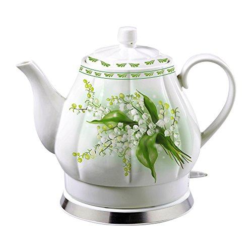 Porzellan-Wasserkocher Elektrokocher Teekessel 'Maiglöckchen' 1,7 L ,elektrisch 1500-1600W.
