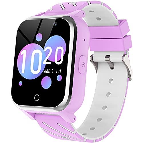 Smartwatch Bambini, Orologio Telefono per Ragazzi e Ragazze con Doppia fotocamera Gioco Sveglia Calcolatrice Musica,Smartwatch per Bambini dai 4 ai 13 anni (viola)
