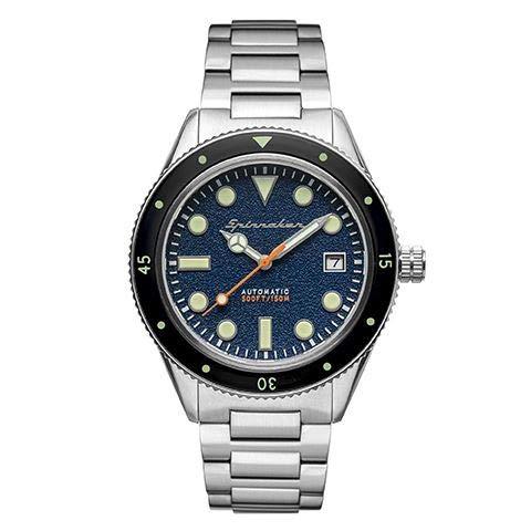 Spinnaker Herren-Armbanduhr, automatisch, 40 mm, blaues Zifferblatt, Armband aus versilbertem Stahl, SP-5075-22