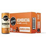 Remedy Raw Organic Kombucha - Sparkling Live Cultured Drink - Sugar Free Ginger Lemon - 8.5 Fl Oz Can, 24-Pack