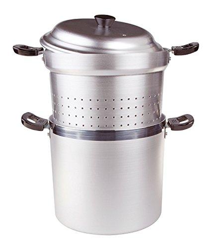 Pentole Agnelli Pastatopf/Spaghettitopf mit Einsatz und Deckel, BLTF-Aluminium, Bakelitgriffe, 8l, 22cm, silberfarben