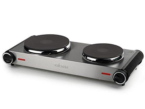 Plaque de cuisson électrique double feu Tristar KP-2648 inox brossé - 2 500 W - Acier inoxydable - 15,5 et 18,5 cm de diamètre