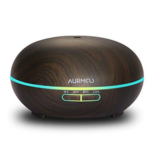 Aurmoo | Aroma diffuser | Aromatherapie | 400 ml | Kleur en LED licht instelbaar | Donker hout