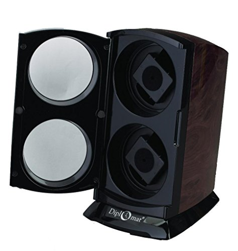 Double Watch Winder Vertical Design Burl Print High Gloss Black Accents and Timer