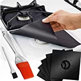 Gas Stove Burner Liners, 12 Pack Non-Stick Reusable Gas Range Protectors Top Covers for Gas Burners...
