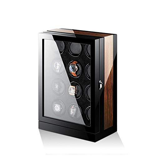 GOHHK Automatische Uhrenbeweger Box, 12 hölzerne Batterie Silent Uhrenbeweger Display Box Aufbewahrungskoffer schwarz und braun
