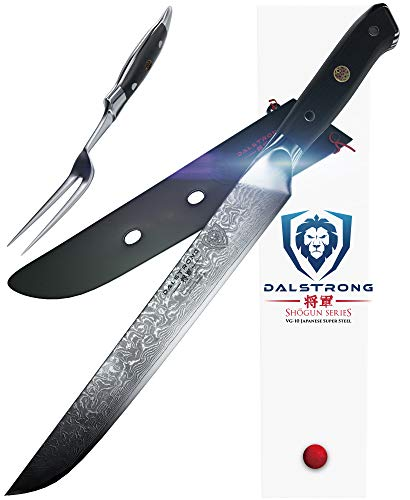 DALSTRONG Carving Knife & Fork Set - Shogun Series - Damascus 9' - Japanese AUS-10V Super Steel - Sheath