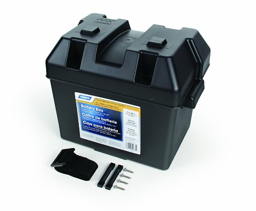 Camco Heavy Duty Battery Box with Straps and Hardware - Group 24 |Safely Stores RV, Automotive, and Marine Batteries |Durable Anti-Corrosion Material | Measures 7 ' x 10 ' x 8' - (55362)