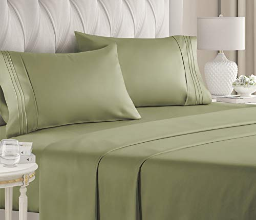 Twin Size Sheet Set - 4 Piece Set - Hotel Luxury Bed Sheets - Extra Soft - Deep Pockets - Easy Fit - Breathable & Cooling - Wrinkle Free - Comfy - Sage Green Bed Sheets - Twins Sheets - 4 PC