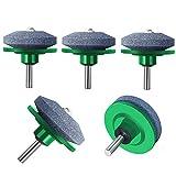ZALALOVA 5Pcs Lawn Mower Blade Sharpener, Universal Lawnmower Blade Sharpener for Any Power Drill Hand Drill(Green)