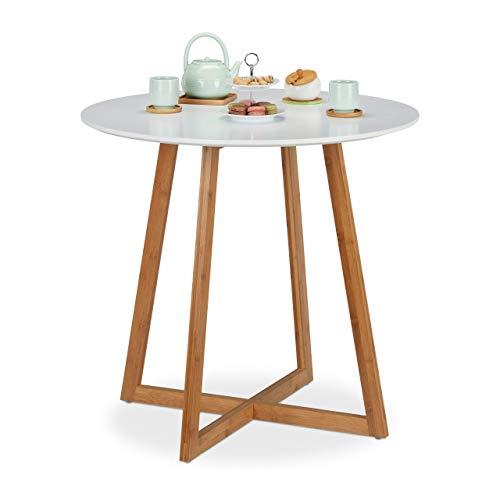 Relaxdays Esstisch rund, skandinavisch, Kreuzbeine, 2 Personen, aus Bambus & MDF, Küchentisch, HxD 75x80 cm, weiß/natur