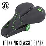 SeatyLock Trekking Classic (schwarz) - Sportlicher Sattel mit integriertem Faltschloss