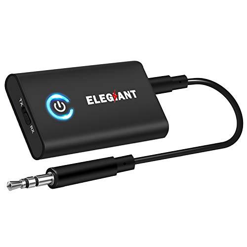 ELEGIANT Bluetooth Adapter 5.0 Bluetooth Receiver Transmitter 2 in 1 Mini Wireless Sender Empfänger mit 3,5mm Klinke 300MAH für Auto TV PC Laptop Stereoanlage iPhone XS Samsung S10 Huawei Mate 20 P30