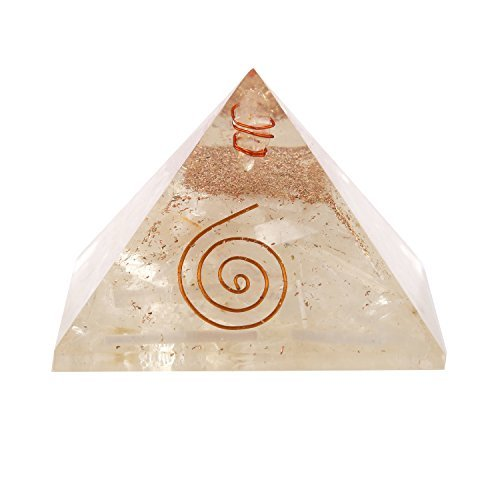 Aatm Energy Generator Selenite Orgone Pyramid for EMF Protection Chakra Healing Meditation with Crystal and Copper (3 and 3 Inches)
