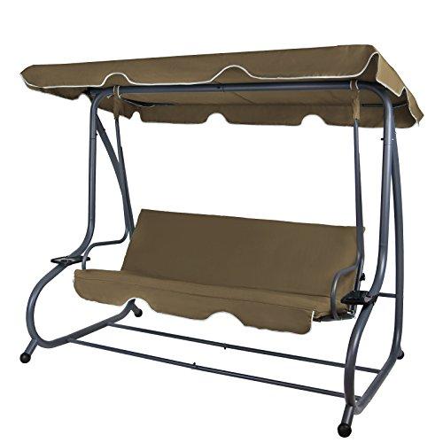 BB Sport 4-Sitzer Hollywoodschaukel Gartenschaukel klappbar mit Bettfunktion mit Sonnendach und Liegefunktion für 4 Personen, Farbe:Bisonbraun