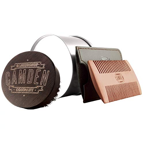 Spazzola e pettine per la barba ● Kit di Camden Barbershop Company ● per la cura quotidiana della barba ● adatto all'applicazione dell'olio da barba