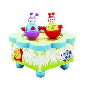 Caja de música multicolor Wiggly Bug – Caja de madera de música con figuras móviles magnéticas – Cajas de música…