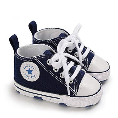DEBAIJIA Bebé Primeros Pasos Zapatos de Lona6-12M NiñosAlpargata Suave Antideslizante Ligero Slip-on 18 EU Azul (Tamaño Etiqueta-2)