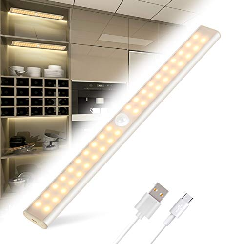 Luce Armadio Tanbaby Led Guardaroba con Sensore di Movimento con USB Ricaricabile 40 LED Luci Camera da Letto con Striscia Magnetica Adesiva,Luci da Esposizione (Luce Bianca Calda)