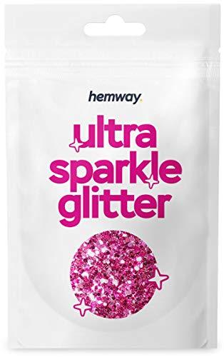 Hemway - Purpurina gruesa en polvo - Ideal para pelo, piel, cara, barba y uñas - Para decoración, manualidades, postales y fiestas - Efecto unicornio - Rosa claro