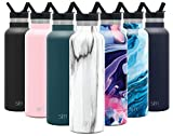 Simple Modern 20oz Ascent Water Bottle with Straw Lid - Stainless Steel Hydro Tumbler Flask - Double Wall Vacuum Insulated Small Reusable Metal Leakproof Pattern: Carrara Marble
