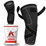 Knee Brace Compression Sleeve with Strap for Best Support & Pain Relief for Meniscus Tear, Arthritis, Running, Basketball, MCL, Crossfit, Jogging and Recovery for Men & Women (Black, X-Large)
