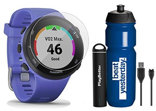 Garmin Forerunner 45S (Iris - Small) Running GPS Watch Runner Bundle | +Garmin Water Bottle, HD Screen Protectors & PlayBetter Portable Charger | Garmin Coach, HR, Body Battery, Smart Notifications