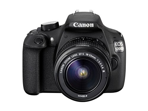Canon EOS 1200D - Fotocamera reflex digitale da 18 MP, schermo da 3', USB, HDMI, autofocus, colore nero, kit corpo con obiettivo EF-S 18-55 DC III (ricondizionato certificato)