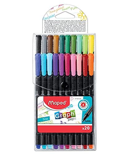 Maped 749151 - Pack de 20 rotuladores punta fina, Multicolor