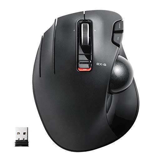 エレコム マウス ワイヤレス (レシーバー付属) トラックボール 左手用 6ボタン ブラック M-XT4DRBK