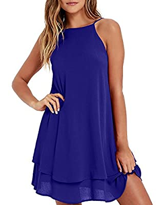 Material: The summer halter short dress is made of breathable and soft polyester, it is lightweight,skin-friendly and comfortable.Hand wash or machine washing with low temperature is recommended. Hang to dry, but do not bleach. Feature: Halter neck s...