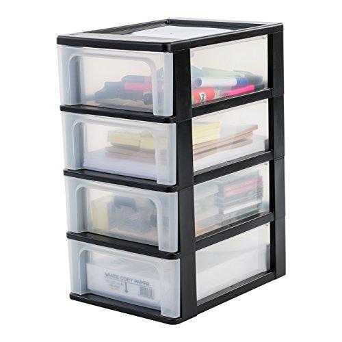 Iris Organizer Chest OCH-2004 Schubladencontainer-/ schrank, Kunststoff, schwarz / transparent, 35,5 x 26 x 49 cm