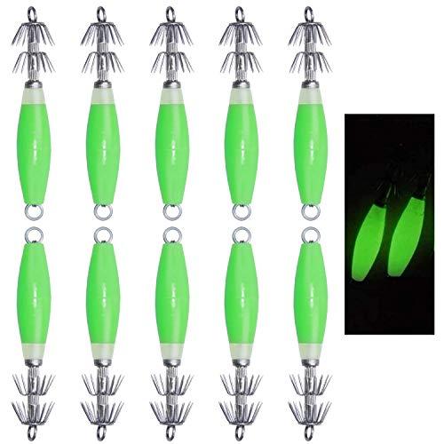OROOTL Fluorescent Saltwater Squid Jig Hooks, 5pcs/10pcs Luminous Cuttlefish Sleeve Jig Lure Head...