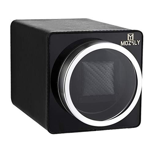 MOZSLY Uhrenbeweger für Automatikuhren mit 12 Umdrehungen Modelleinstellung für Rolex Fit Man Damen Automatikuhr Schwarzes Leder