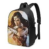 Lsjuee Wonder Woman - Mochila para computadora portátil, con Puerto de Carga USB/Mochilas Impermeables Informales y Elegantes para la mayoría de computadoras portátiles y tabletas de 17/15,6 pulga