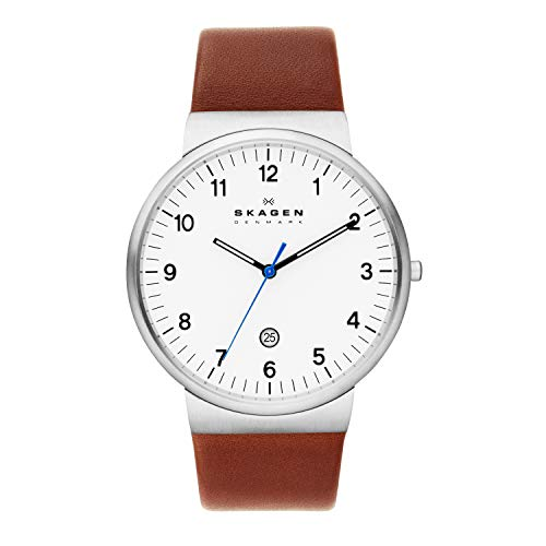 Skagen Men's Ancher Quartz Analog Stainless Steel and Leather Watch, Color: Silver/Brown (Model: SKW6082)
