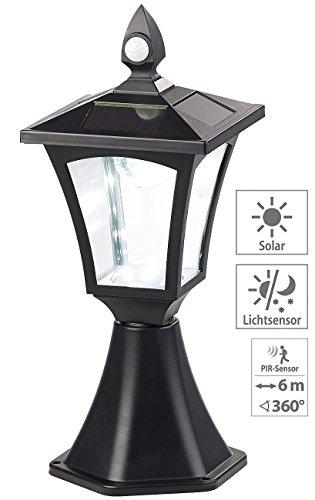 Royal Gardineer Gartenlampe: Solar-LED-Standleuchte, PIR-Sensor, Dämmerungssensor, 100 lm, IP44 (SolarLED Leuchte für Gatensäule)