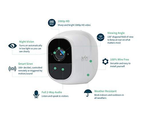 41d5Xl+H29L Bon plan Arlo Pro 2 | Caméra de Surveillance WiFi sans Fils - Pack de 3, Batteries Rechargeables & Accessoire Arlo Bras de F...
