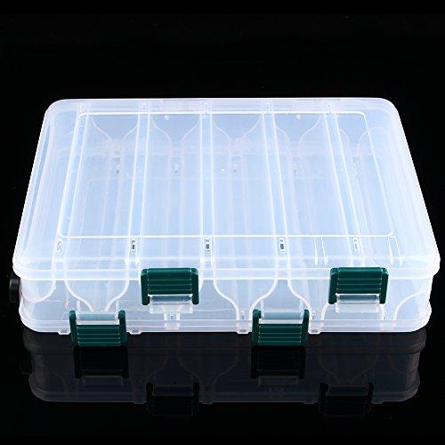 Dilwe Scatola di Attrezzi, scatole di plastica da Pesca a Doppia Faccia per Esche Artificiali con 12 Scomparti per Kit Accessori da Pesca