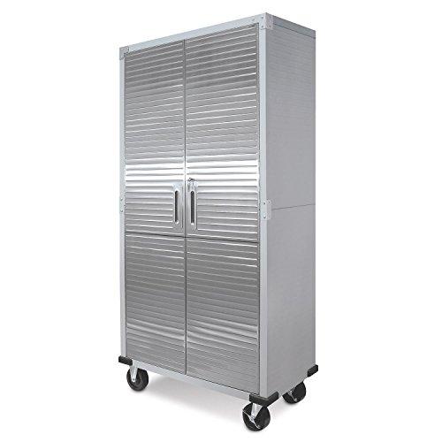 Metal Storage Cabinet 4 Shelves Rolling Tool Garage Warehouse Studio Shelving Stainless Steel...