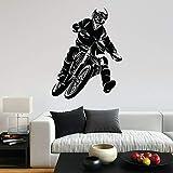 wZUN Motocross Pared calcomanía Motociclista Vinilo Pegatina Garaje Dormitorio decoración del hogar 50X64cm