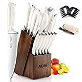 Knife Set,19 Piece Kitchen Knife Set with Block Wooden and Sharpener, Professional High Carbon German Stainless Steel Chef Knife Set, Ultra Sharp Full Tang Forged White Knives Set (White)