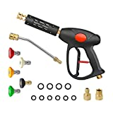 Sooprinse High Pressure Washer Gun 4000 PSI,7 Inch Extension Replacement Wand with 5 Quick Connect Nozzles,1/4 Inch Quick Connector, M22-14 Thread Inlet with M22-15 Adapter,3/8 Quick Connector