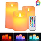 Lampe Bougie LED sans Flamme, ALED LIGHT 3 pcs Blanc Chaud et Multicolore...