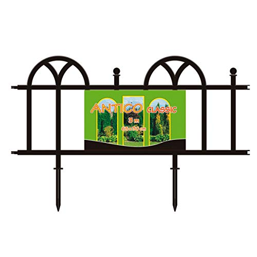 Verdone Dekozaun, Beetumrandung Kunststoff mit Erdspießen, 30cm hoch, 5-teiliges Set, 3m, schwarz, Beetzaun aus wetterfestem Kunststoff