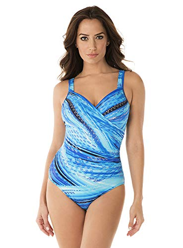 41dBvP1BsIL Look 10 lbs. lighter in 10 seconds® with Miraclesuit. Our exclusive Miratex® fabric slims and slenderizes without panels or linings for total full body shaping and control. Miratex® fabric provides all over body control, shaping and slimming your figure with over twice the shaping power of regular Lycra. V-neckline dips down low while soft cups provide subtle shaping. Adjustable straps let you customize the fit. Cleverly designed wrap style top slims down your midsection, making you look thinner in the waistline and providing an hourglass shape.