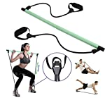 Maniferse Pilates Bar Kit Adjustable-Resistance Bands with Foot Loops. Home Fitness Stretching Stick. Tone Core, Butt & Weight Loss. Reformer, Yoga, Zumba, Exercise Tool. Gym in House for Women, Men.